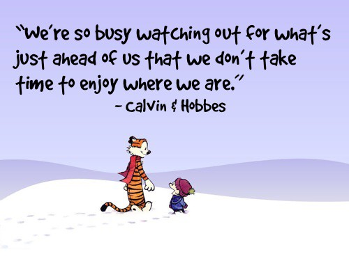 We don't take time to enjoy where we are