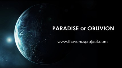 The earth with 'Paradise or Oblivion' wording