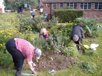 Volunteers Planting the Main Flowerbed